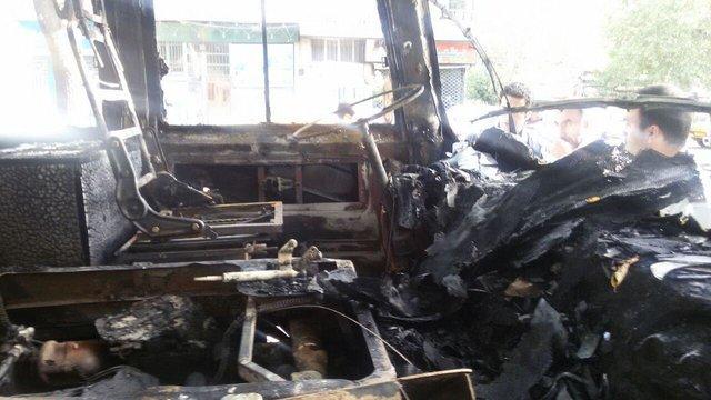 فوت 4 نفر در آتشسوزی مینیبوس در تهران