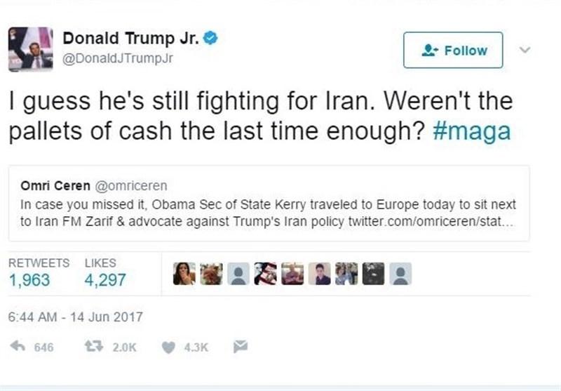 توئیت تند پسر ترامپ علیه جان کری (+عکس)