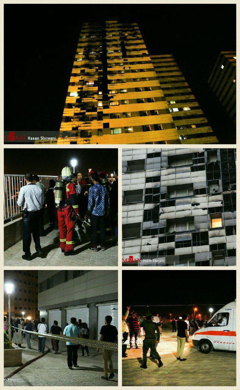 مهار آتش سوزی در برج 20 طبقه در غرب تهران (+عکس)