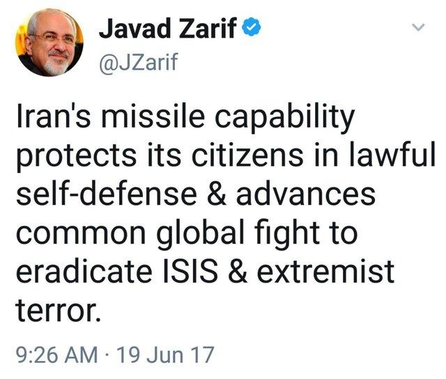 توئیت ظریف: توان موشکی ایران از شهروندانش دفاع میکند