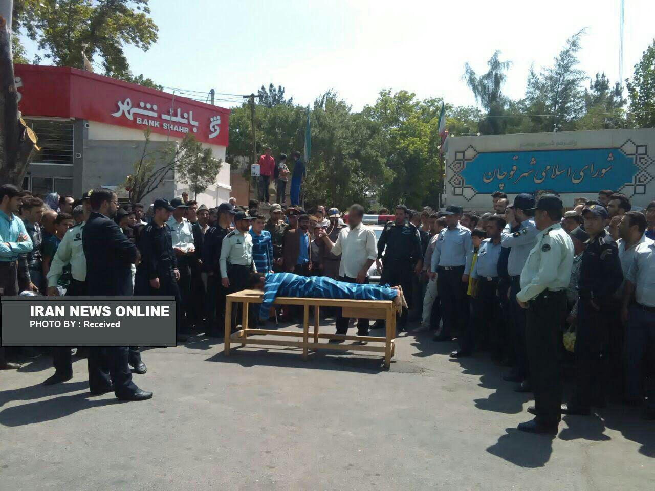 اجرای حکم  74 ضربه شلاق هفت نفر از اراذل واوباش شهرستان قوچان (عکس)