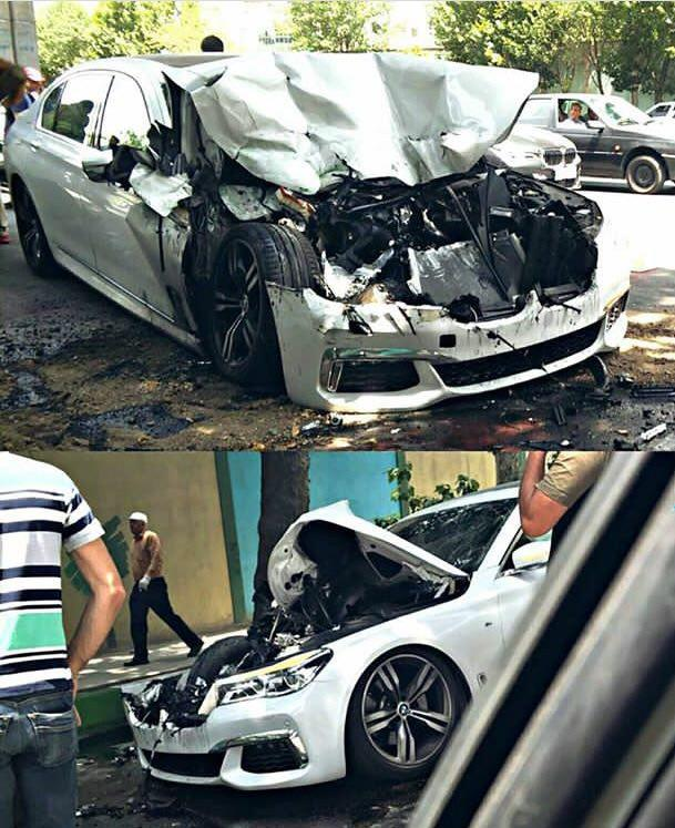 تصادف سنگین BMW سری 7 در تهران (+عکس)
