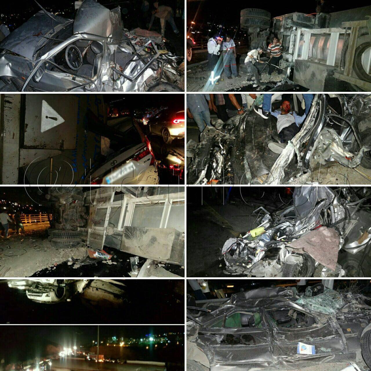 واژگونی تریلر حاوی قیر به علت برخورد با چند خودرو  عامل ترافیک سنگین در محور تهران به دماوند (+عکس)