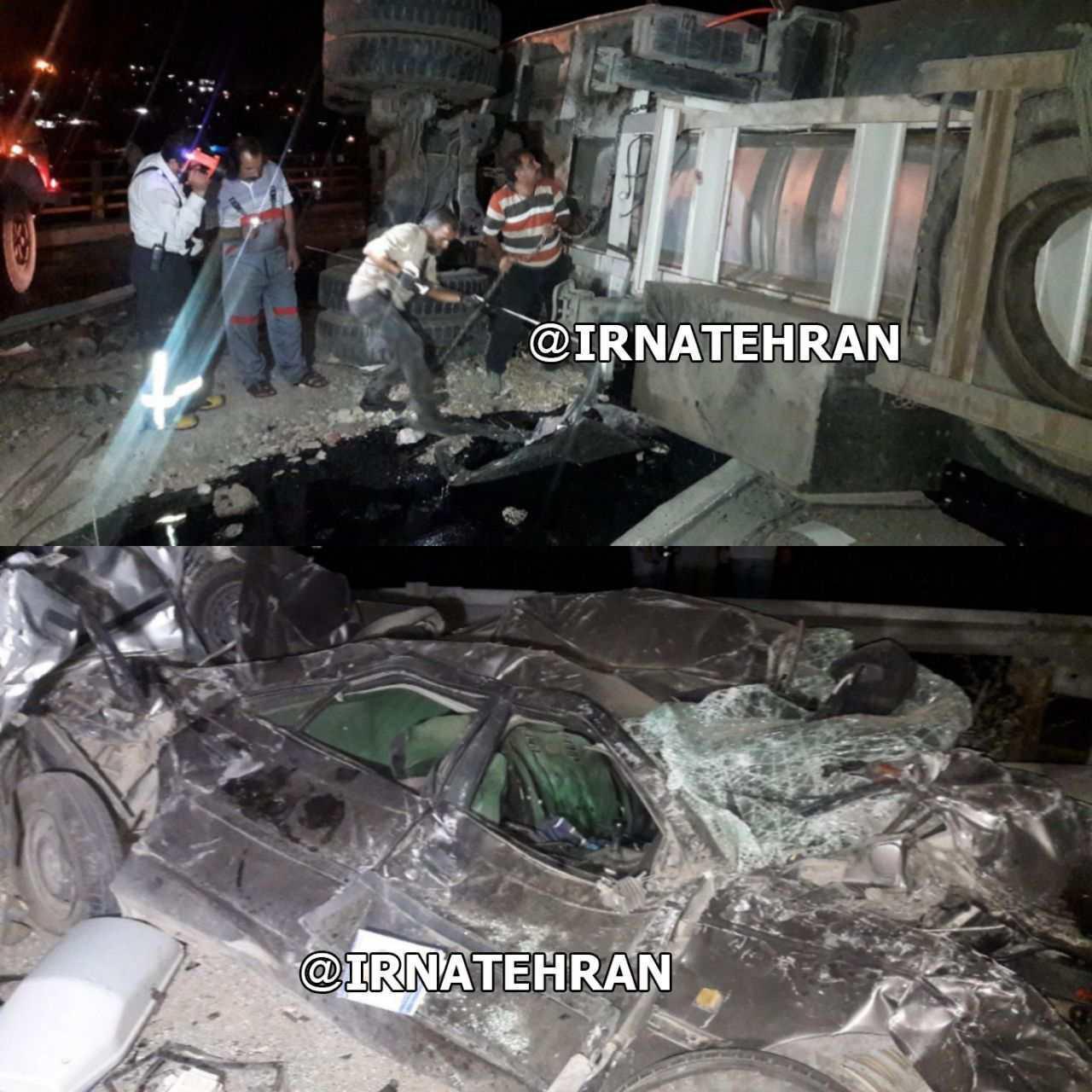 واژگونی تریلر حاوی قیر به علت برخورد شدید با چند خودرو  عامل ترافیک سنگین در محور تهران به دماوند (+عکس)