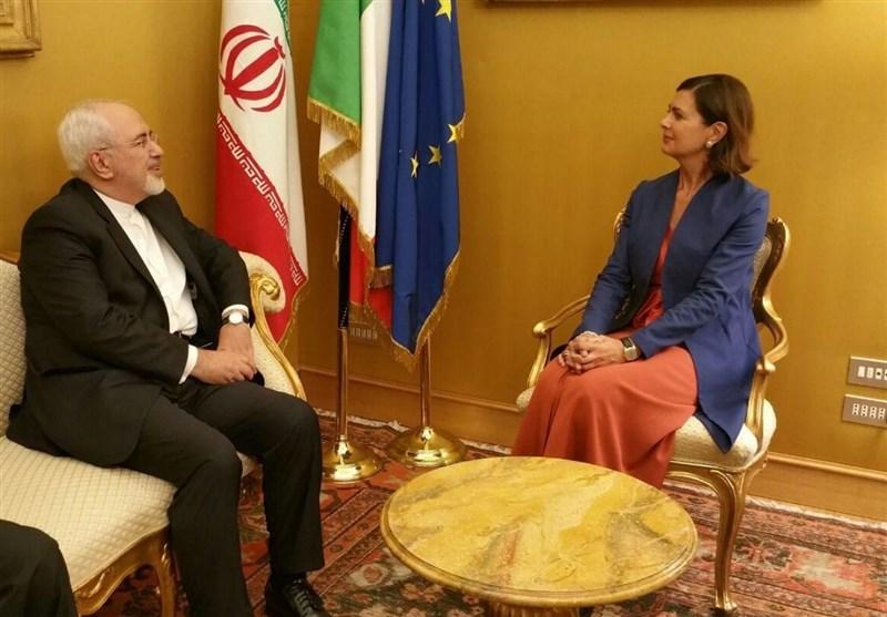 دیدار ظریف با رئیس مجلس ایتالیا (+عکس)