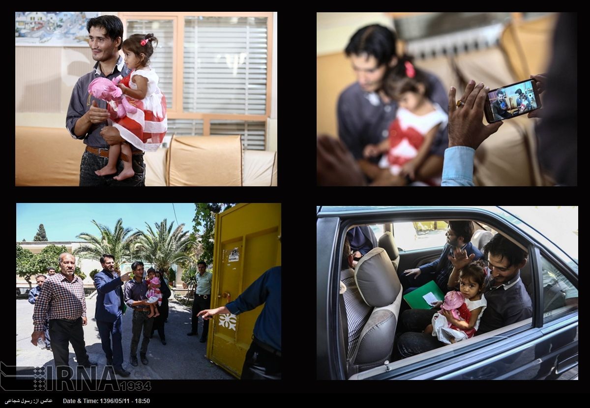 بازگشت ملیکا کودک ربوده شده به آغوش پدر (عکس)