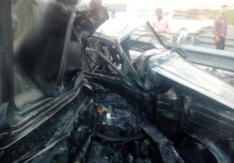 مصدومیت 6 نفر در تصادف جاده ازنا ـ الیگودرز/ 2 خودرو در آتش سوخت (+عکس)