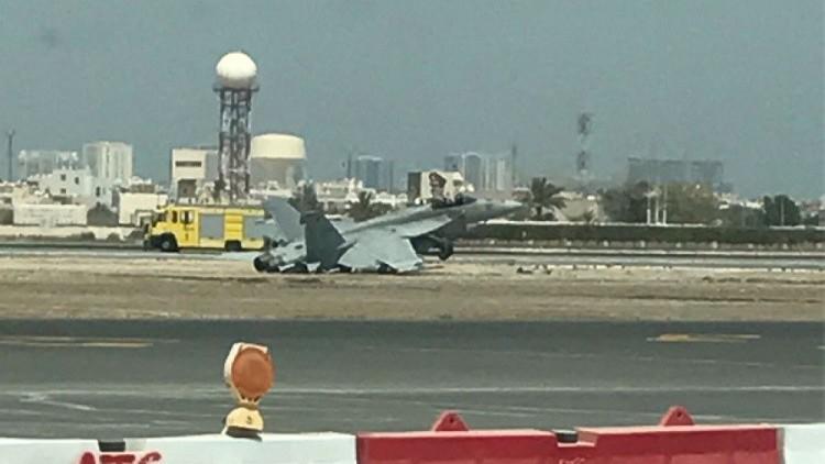 سقوط جنگنده آمریکایی در فرودگاه بینالمللی بحرین (+ عکس)