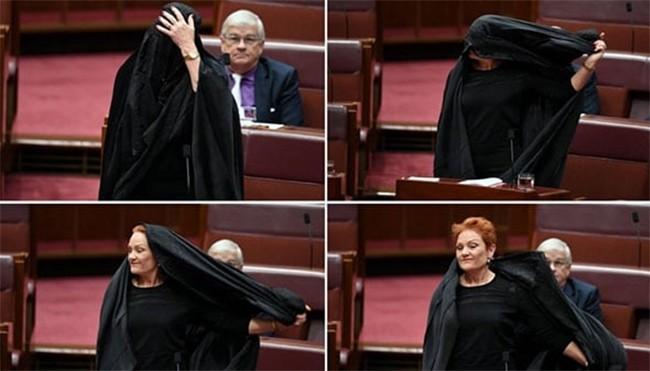 حرکت نماینده زن پارلمان استرالیا علیه برقع (عکس)