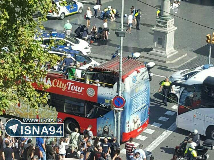 هجوم یک خودرو به عابران در بارسلون اسپانیا/ پلیس: حادثه ترویستی است/ 20 زخمی و یک کشته (+عکس)