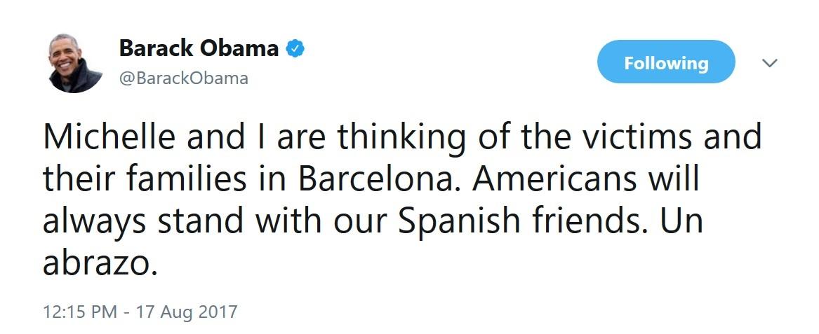 توئیت اوباما درباره حمله تروریستی در اسپانیا (عکس)