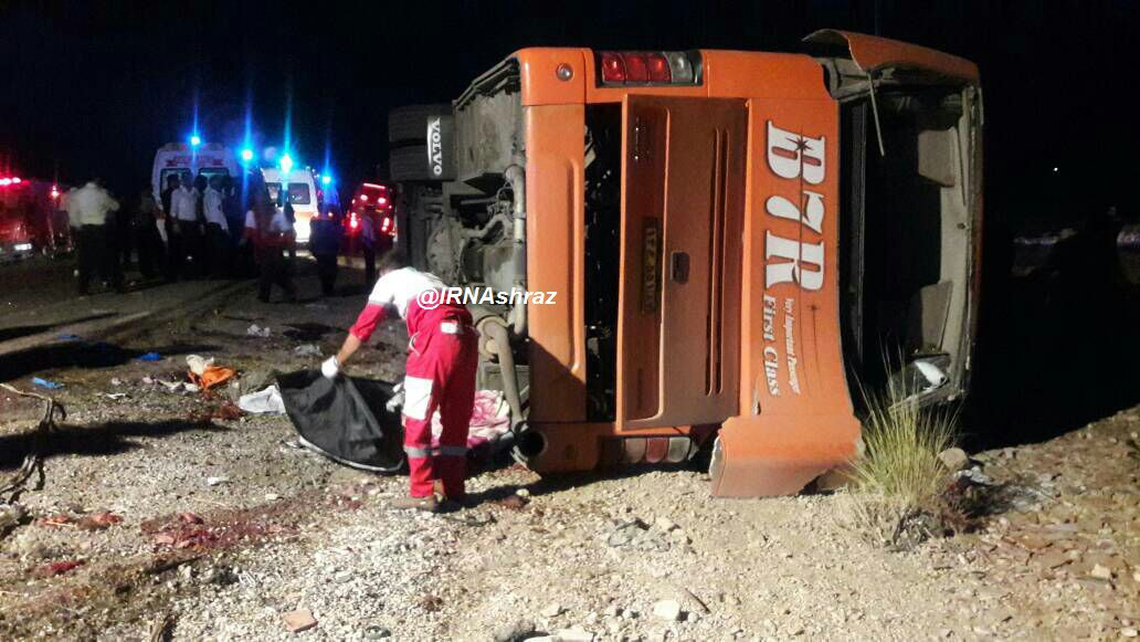 Image result for حادثه واژگونی اتوبوس دانش آموزان دختر نخبه