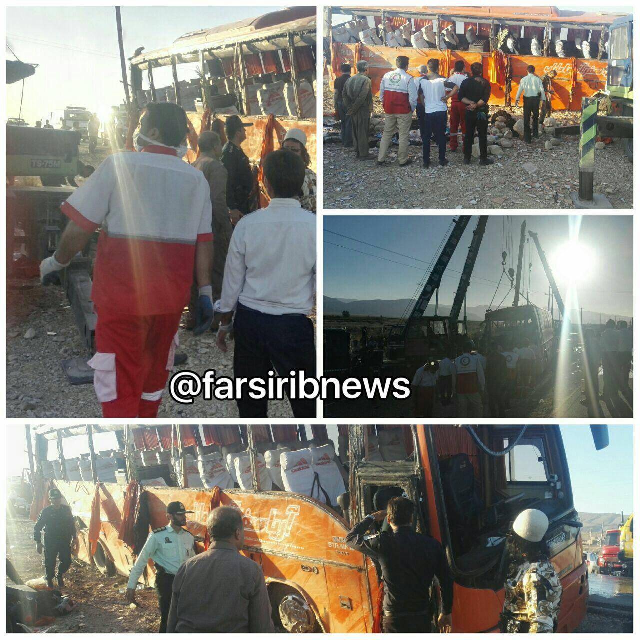 9 کشته و 34 زخمی در حادثه واژگونی اتوبوس دانشآموزان دختر عکس ...