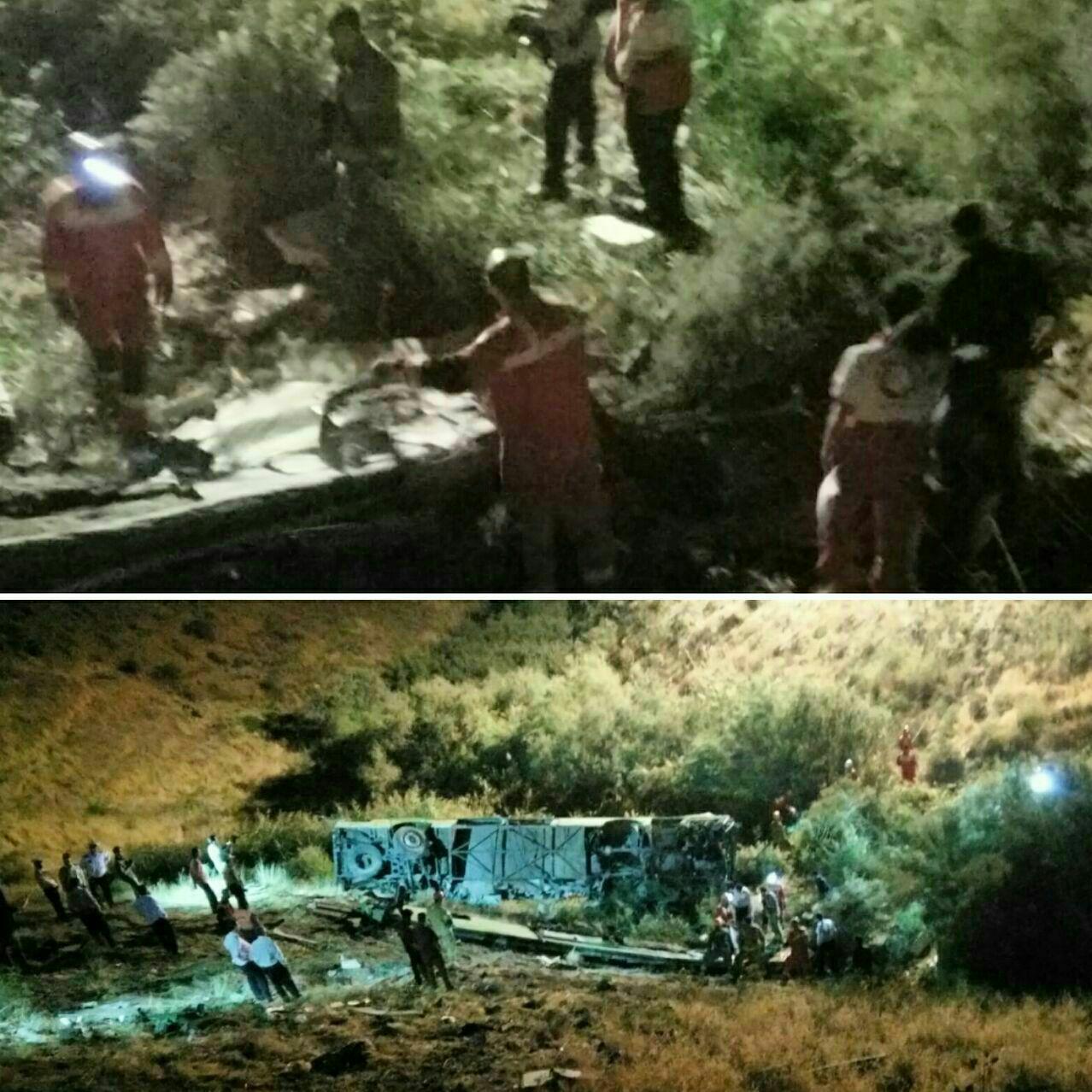 11 کشته و 28 زخمی در سقوط اتوبوس در جاده آبعلی تهران (+عکس)