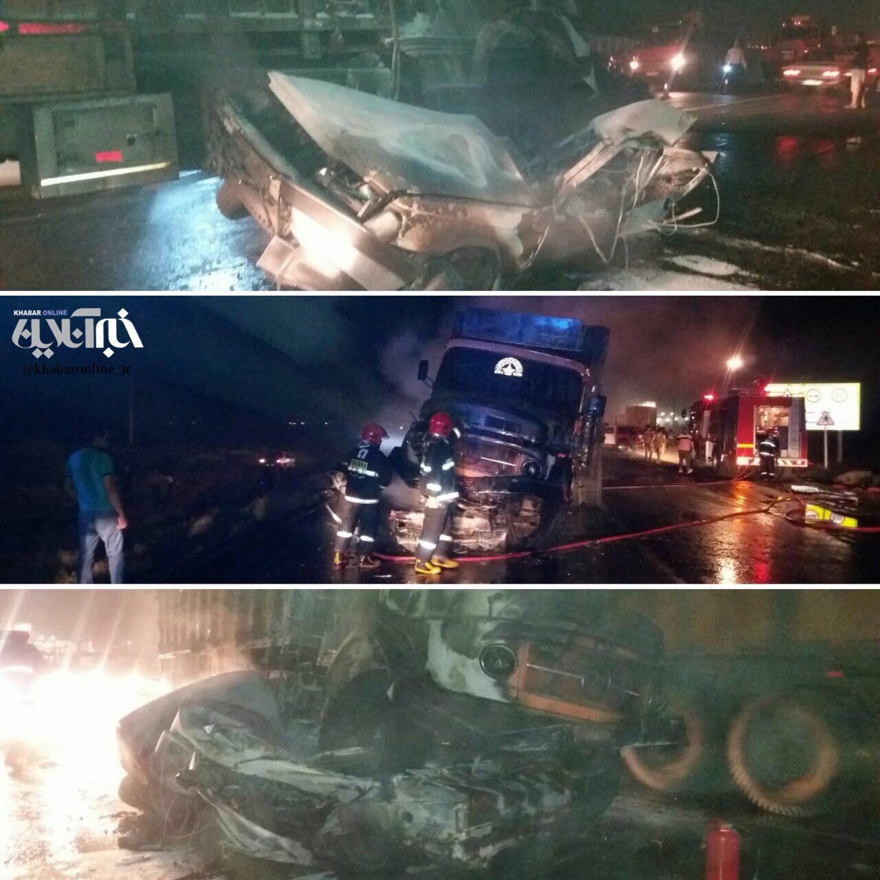 4 کشته در تصادف ۴۰۵ با تریلی در جاده تبریز-زنجان (+عکس)
