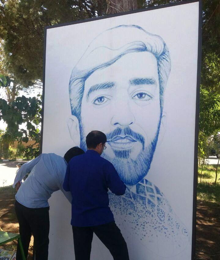 طراحی شهید حججی با 70 هزار اثر انگشت (+عکس)