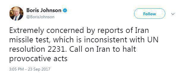 وزیر خارجه انگلیس: آزمایش موشکی ایران ناقض قطعنامه ۲۲۳۱ است