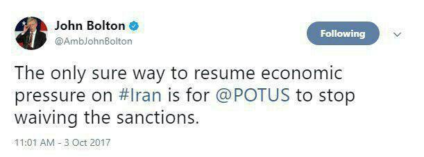 توئیت بولتون درباره فشار اقتصادی بر ایران