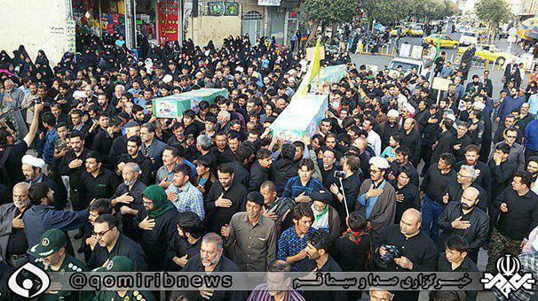 تشییع پیکر 3 شهید مدافع حرم در حرم حضرت معصومه (عکس)