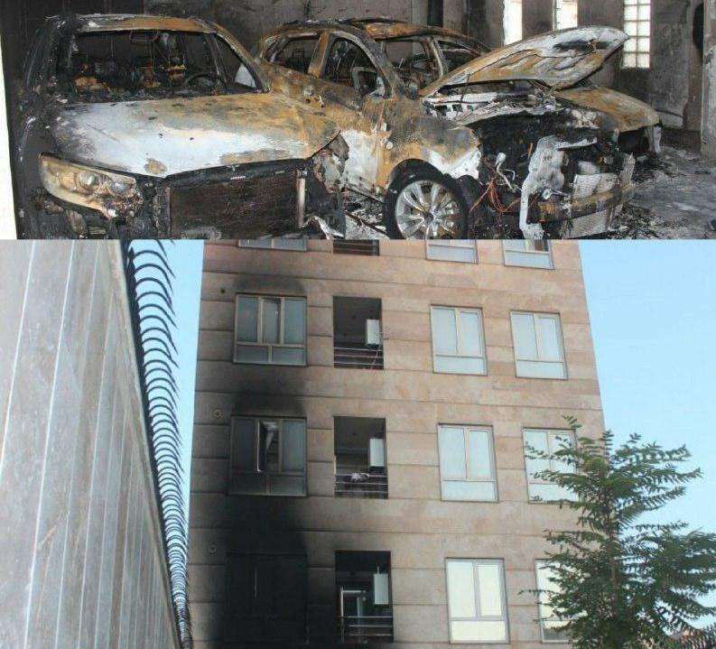 آتش سوزی در شهرك وليعصر/ 3 خودرو آتش گرفت (+عکس)