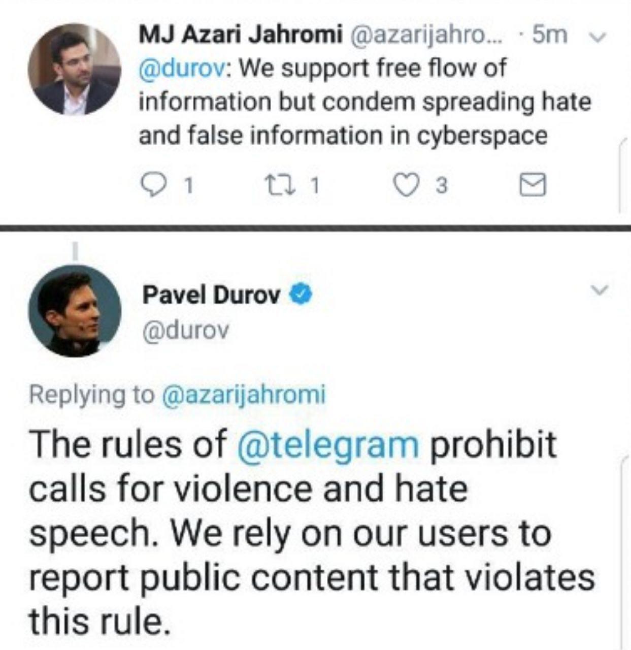 موسس تلگرام: مصاديق خشونت بار و تنفر برانگيز را متوقف ميكنيم
