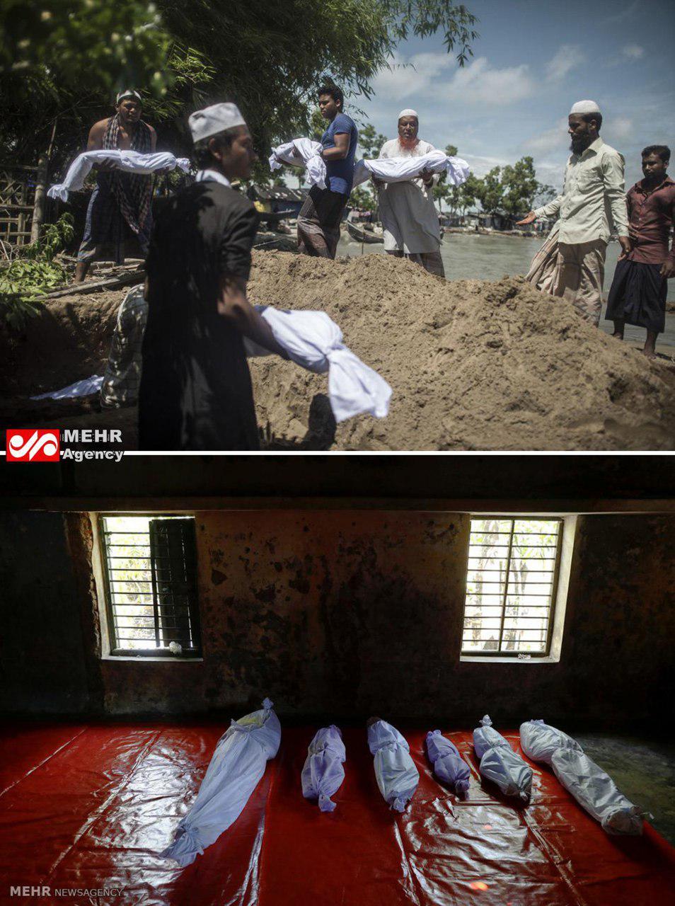 غرق شدن قایق مسلمانان میانماری (عکس)