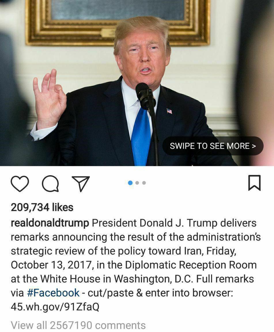ایرانیان در اینستاگرام ترامپ رکوردشکنی کردند/ درج ۲میلیون کامنت (+عکس)