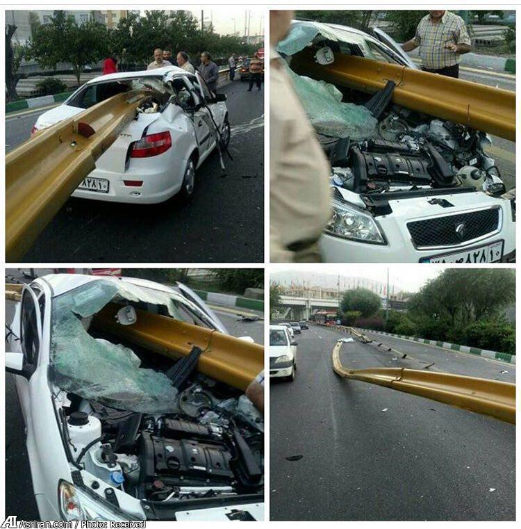 به سیخ کشیده شدن خودروی رانا در یکی از بزرگرراه های تهران (عکس)