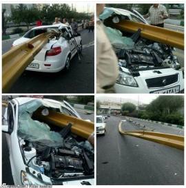 به سیخ کشیده شدن خودروی رانا در یکی از بزرگراه های تهران (عکس)