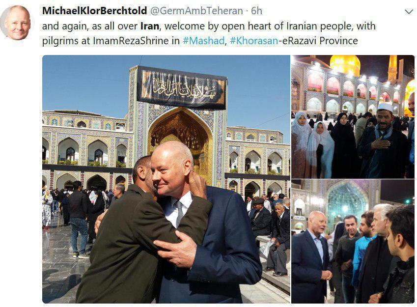 توییت سفیر آلمان درباره حضور در حرم امام رضا