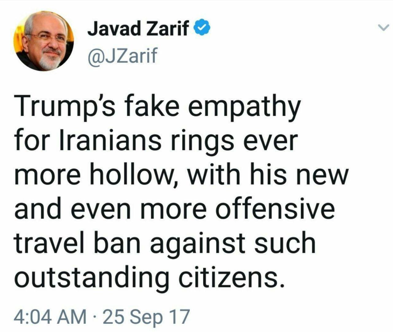 ظریف: همدلی دروغین ترامپ با ایرانیان طنینی توخالیتر از همیشه است