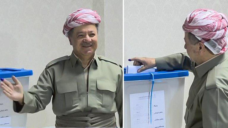 مسعود بارزانی پای صندوق رای همه پرسی استقلال کردستان (+عکس)