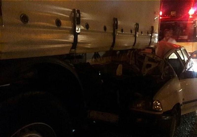 له شدن پراید در بزرگراه آزادگان (+عکس)