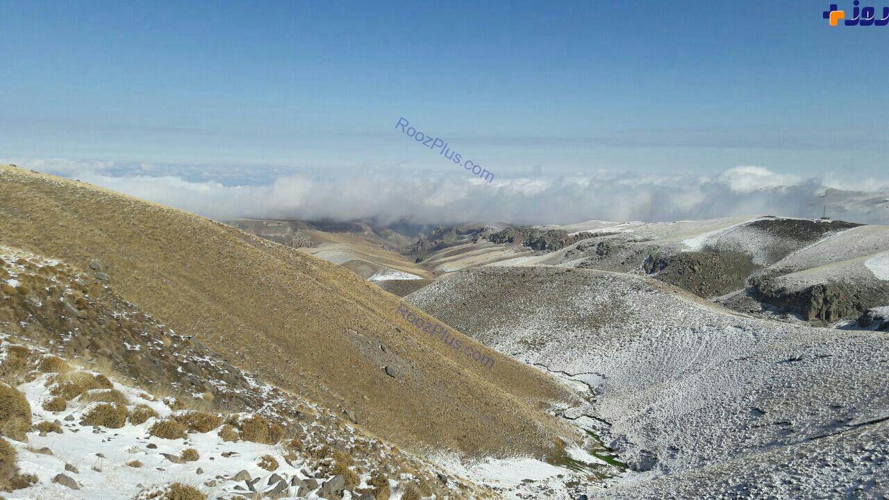 بارش برف در ارتفاعات سبلان استان اردبیل (عکس)
