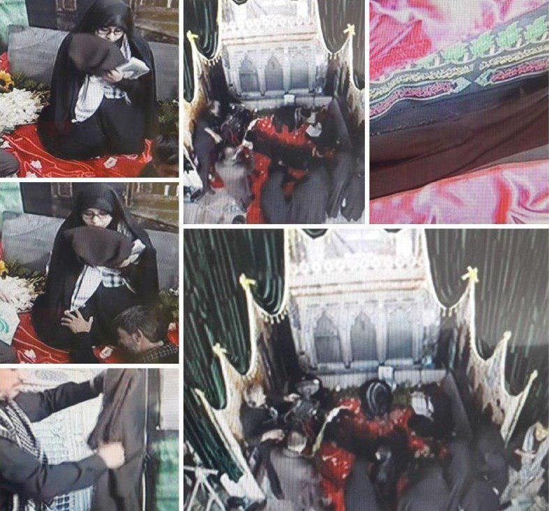 عبای رهبر انقلاب داخل قبر شهید حججی (+عکس)