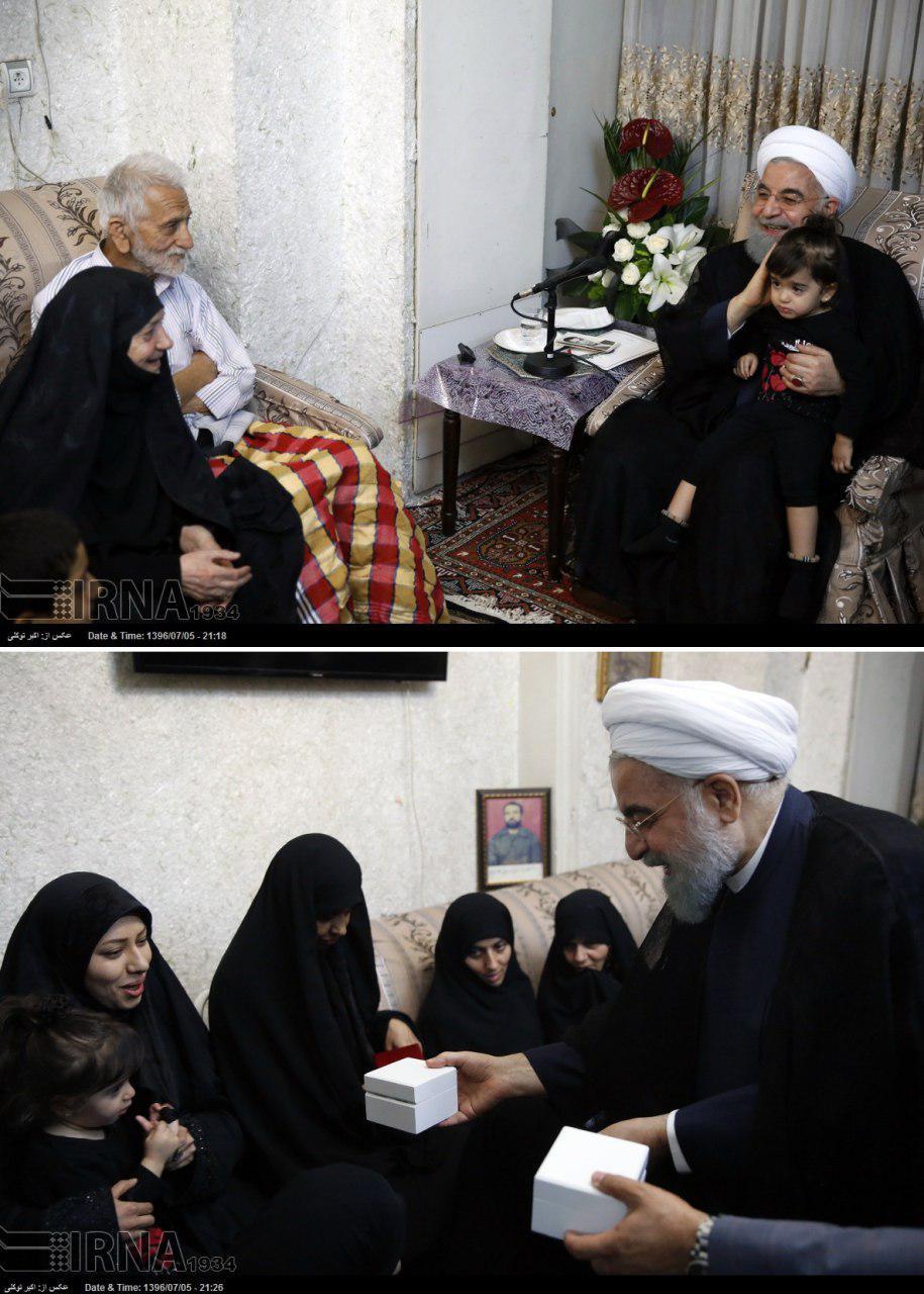 هدیه روحانی به اعضای خانواده شهیدان غضنفری (عکس)