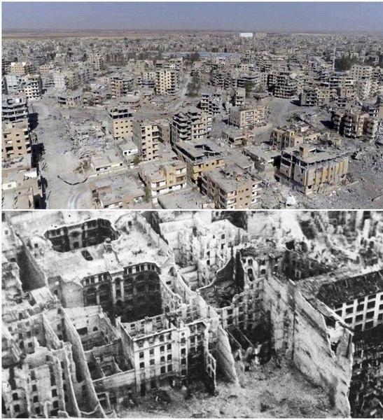 مقایسه ویرانیهای رقه با برلین پس از جنگ جهانی دوم (عکس)