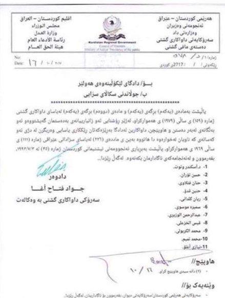 دادستانی اقلیم کردستان حکم جلب ۱۱ مسؤول عراقی را صادر کرد