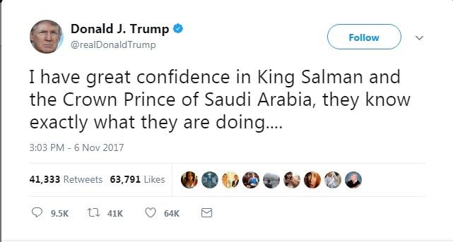 توئیت تازۀ ترامپ دربارۀ وقایع عربستان (عکس)