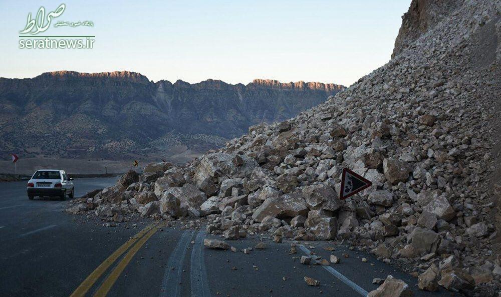 ریزش کوه در محور کرمانشاه به سر پل ذهاب (عکس)