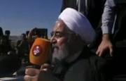 سخنان روحانی در میان فریادهای مردم سرپل ذهاب (فیلم)