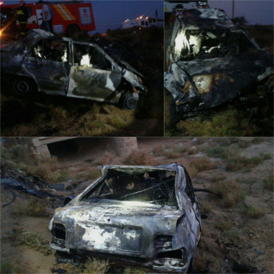 واژگونی مرگبار پراید در جاده دامغان - سمنان با ۳کشته (عکس)