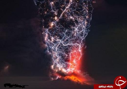 زیبایی آتش فشانها با صاعقه (+عکس)