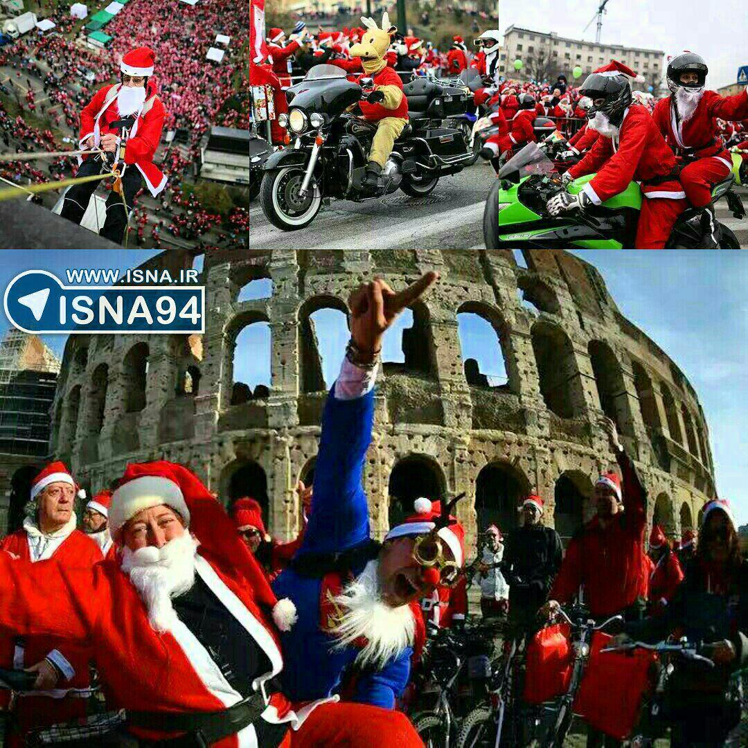 تجمع 20 هزار نفری بابانوئلها در ایتالیا (عکس)