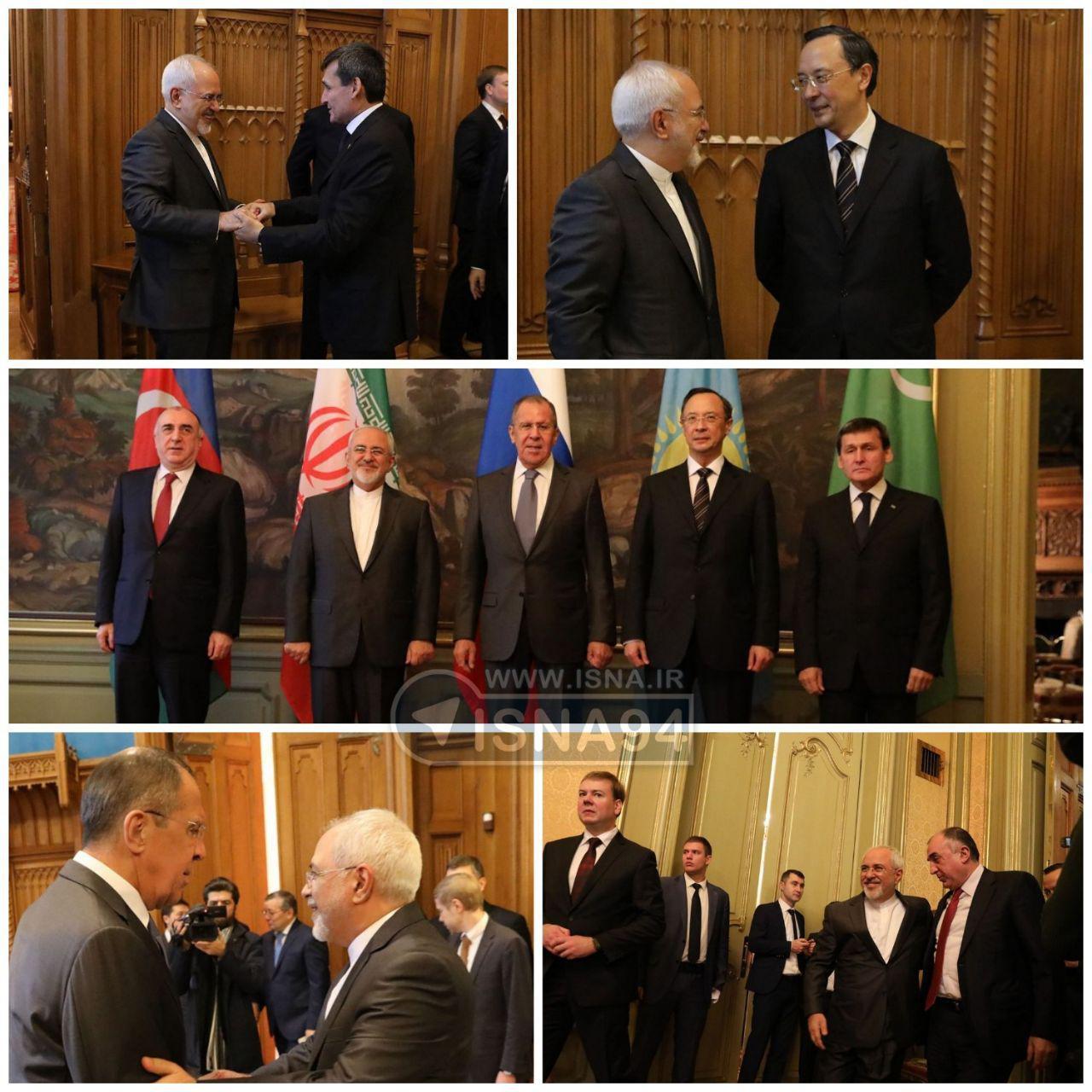 خوش و بش وزیران خارجه 5 کشور ساحلی دریای خزر (عکس)