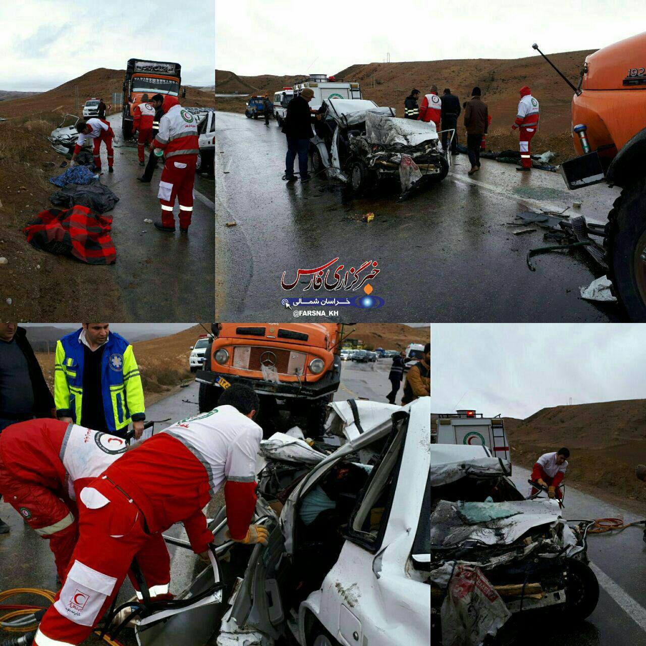 5 کشته در تصادف کامیون و پراید در خراسان شمالی