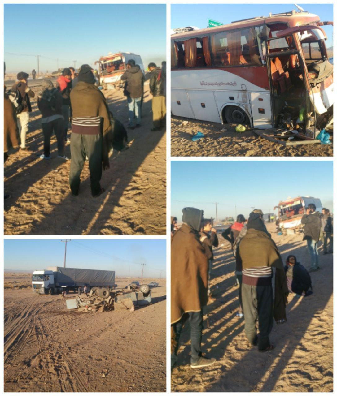 تصادف اتوبوس و مینی بوس در جاده رفسنجان / 53 نفر مصدوم شدند (عکس)