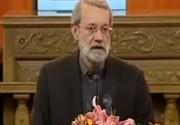 شوخی لاریجانی در همایش نقش پژوهش در قانونگذاری (فیلم)