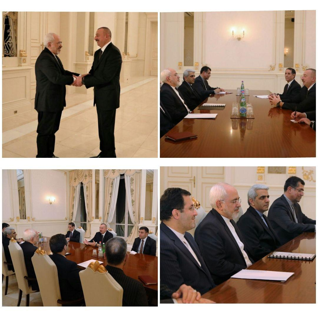دیدار ظریف با رئیس جمهور آذربایجان در باکو (عکس)
