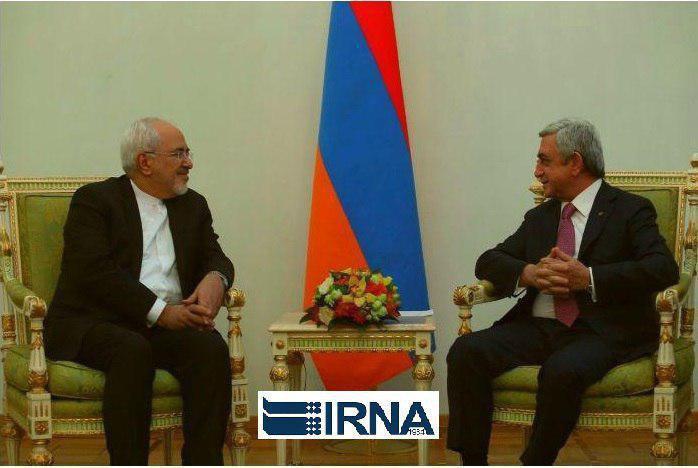 دیدار ظریف با رئیس جمهور ارمنستان در ایروان (+عکس)